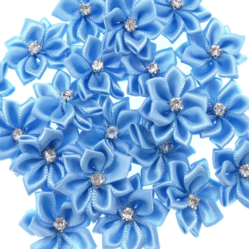 40Pcs Blue Small Satin Flowers Fabric Rhinestone Flowers Appliques Sewing Decoration  Wedding Garment 2.8cm-in Artificial   Dried Flowers from Home   Garden ... 65048a681535