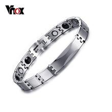 Vnox carburo de tungsteno pulseras de energía magnética terapia de germanio ion pulseras hombres joyería de las mujeres