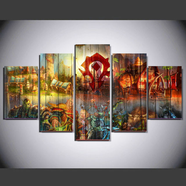 5 Panel Game World Of Warcraft Modern Home Wall Decor