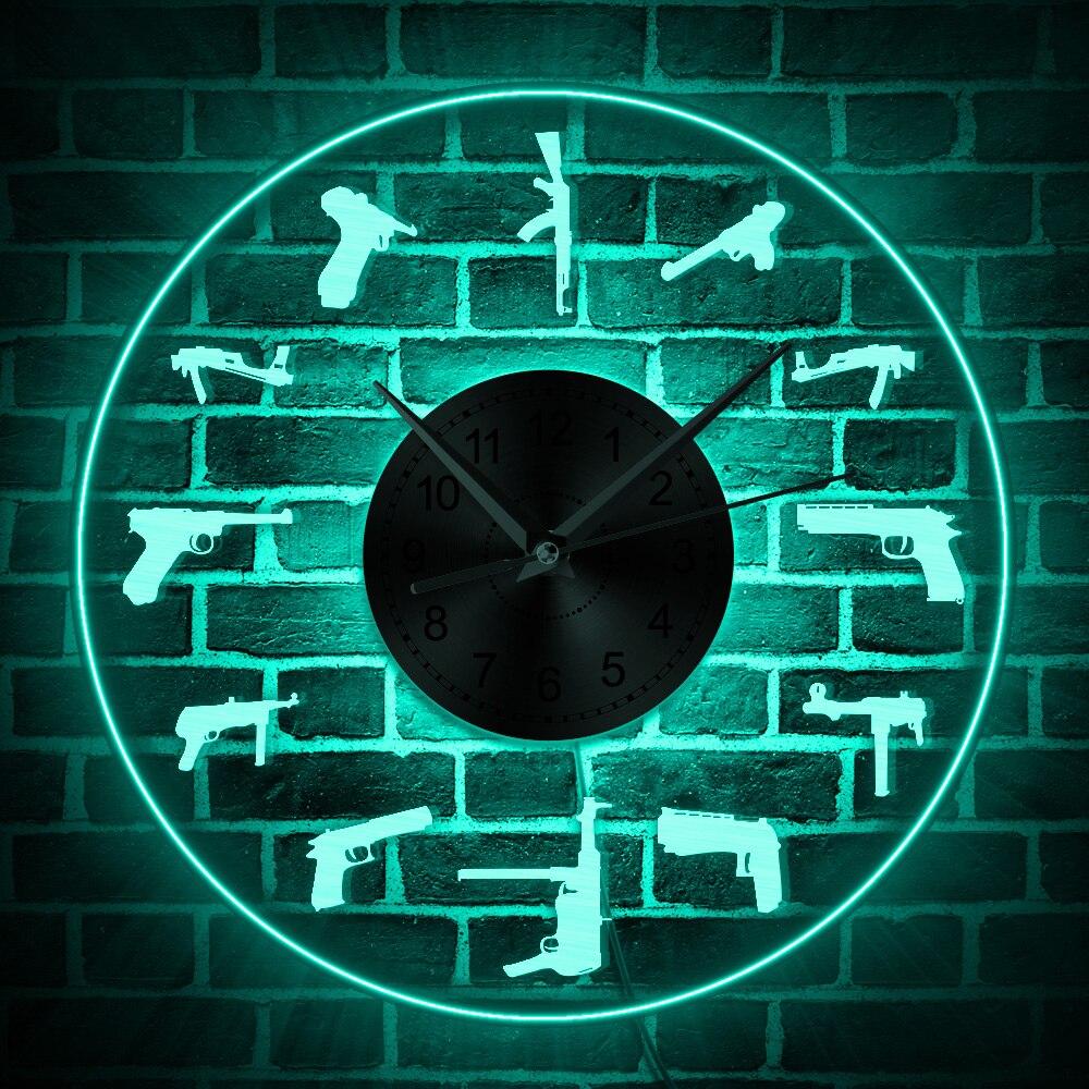 Diversity Gun Family LED Lighted Wall Art Colorful Wall Clock Shooters Prayer Luminous Wall Clock Military Army Retirement Gift