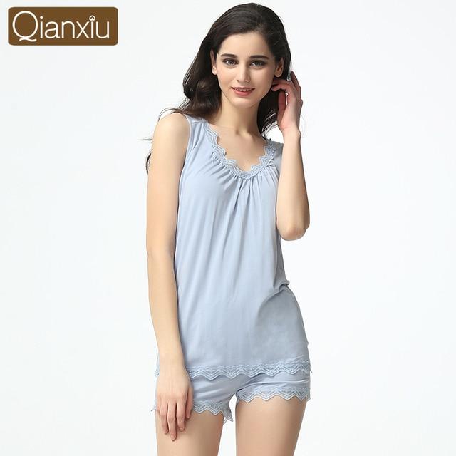 Las mujeres Pijamas de Verano Conjunto Modal Mujer Pijamas de Seda Pijama pijama Femme Sexy Chaleco y Pantalones Cortos Salón Informal ropa de Dormir ropa de Hogar
