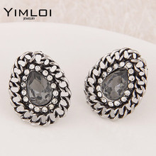 Fashion Austria Crystal Stud Earrings Clear Full Rhinestone Cheap For Woman brincos Wholesale&Retail E308