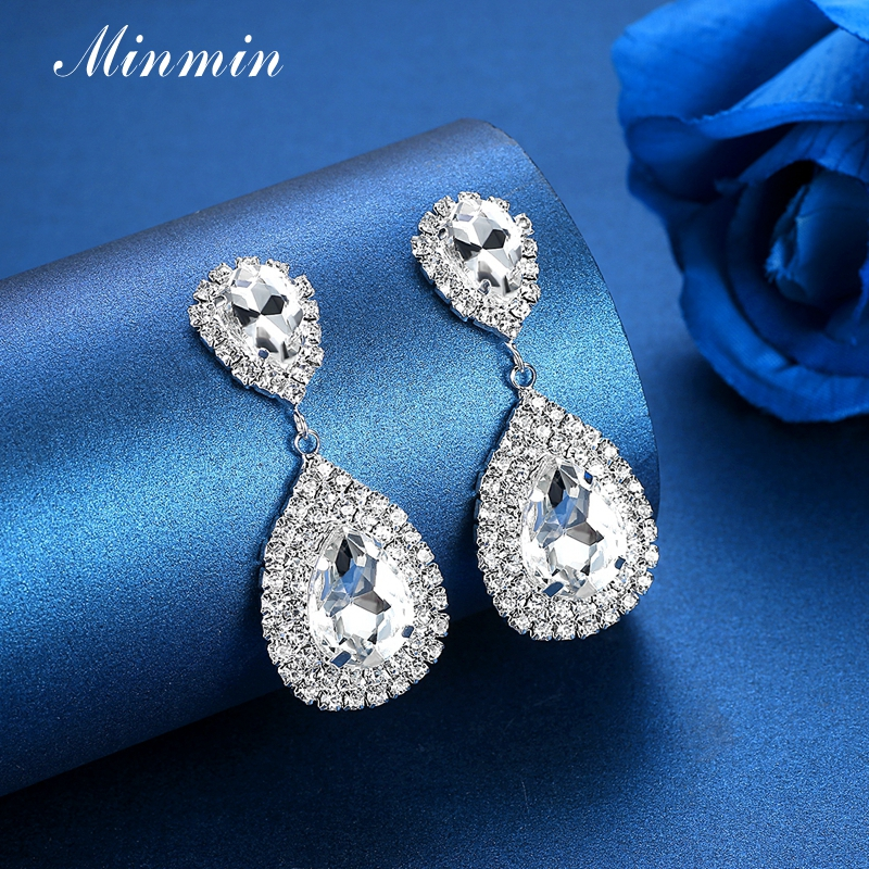 Minmin 6 Färger Teardrop Crystal Long Earrings Silver Rhinestone - Märkessmycken - Foto 5