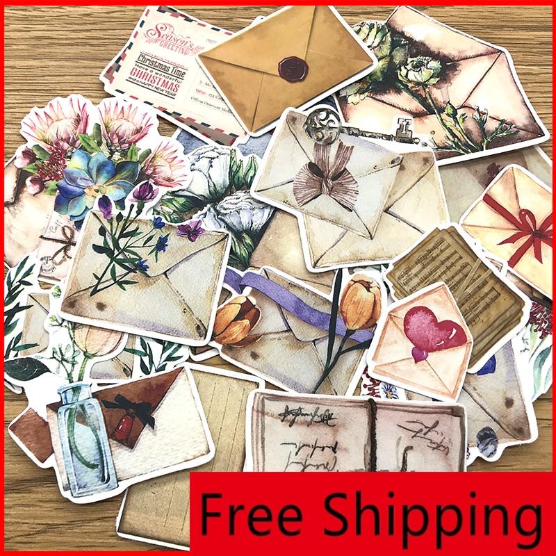 21pcs Nostalgic Envelope Labels Vintage Personalized Scrapbook Stickers Scrapbooking Material Personalized Sticker Happy Planner