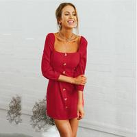 NuoJin 2018 News Autumn Winter Dress Hot Long Sleeve Square Collar Dress Female Clothing Party Slim Dresses Hot Button Dress