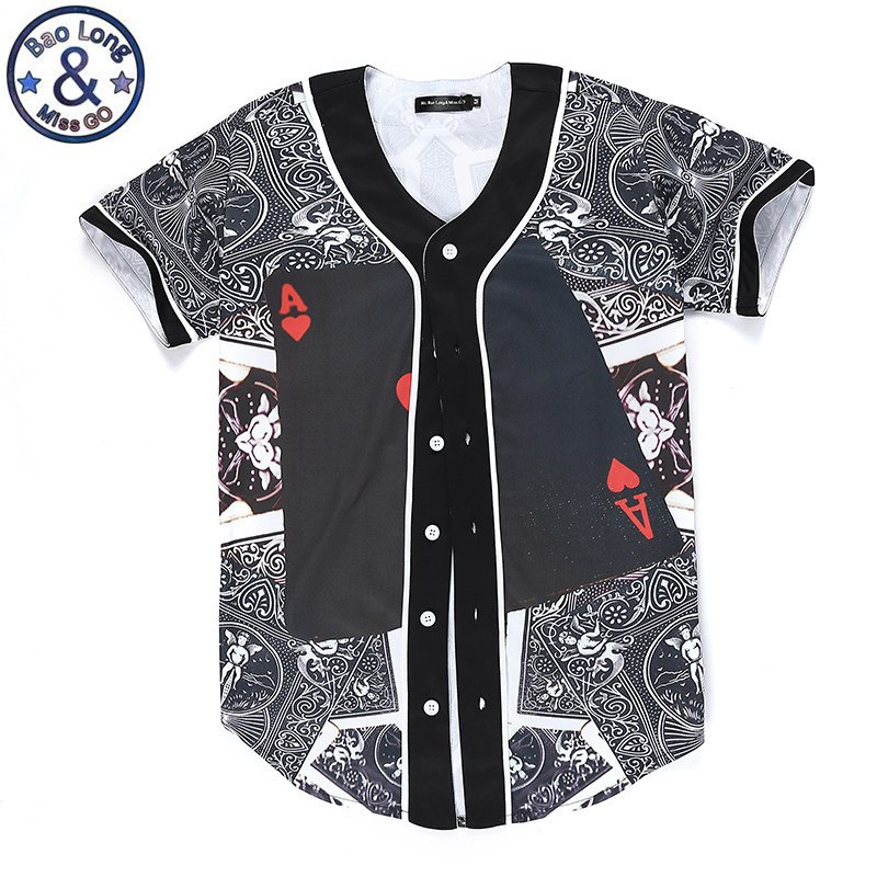 Brand Clothing Summer Style 3d Print Poker Play Card Hip Hop Baseball Shirt With Buttons Short