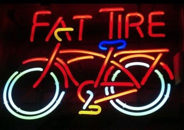 Custom Fat Tire Red Glass Neon Light Sign Beer Bar