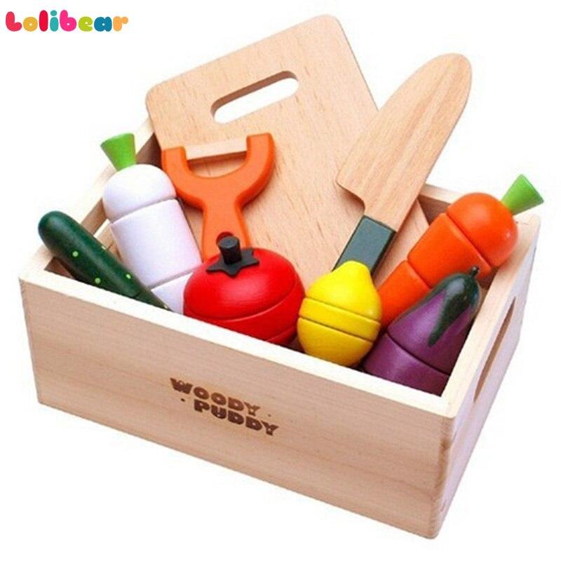 Bébé En Bois Cuisine Jouets Montessori De Coupe Alimentaire Fruits et Légumes Jouer-jeu Éducatif Jouer à Faire Semblant Jouets pour Enfants Cadeaux