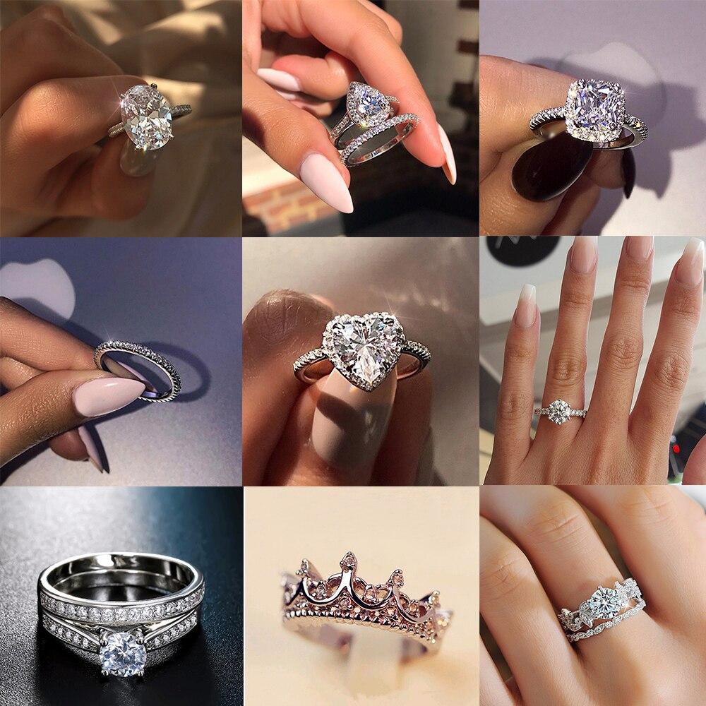 IPARAM женское свадебное циркониевое кольцо 2019 модное геометрическое серебряное Гламурное кольцо роскошное элегантное романтическое женское ювелирное изделие со стразами