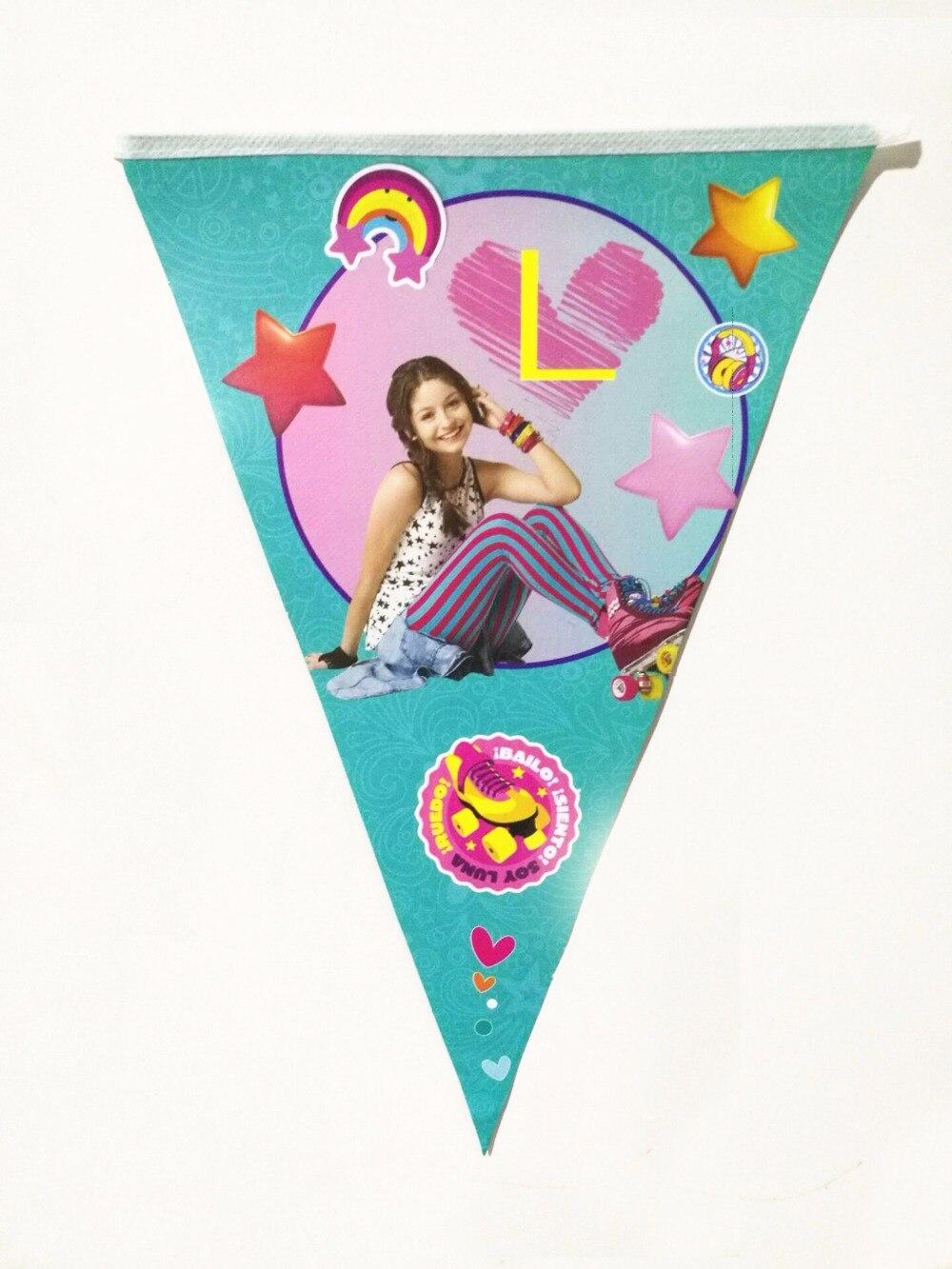 1 компл. соевый Luna бумаги баннер счастливый день рождения флаг Одежда для девочек пользу партии украшение соевый Luna флаг вечеринок