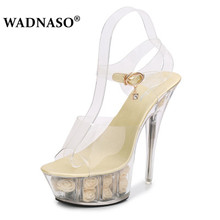 WADNASO Women PVC Clear Transparent Sandals Stilettos Platform Ultra High Heel Shoes Woman Pumps Mule Slide Wedding 34-41