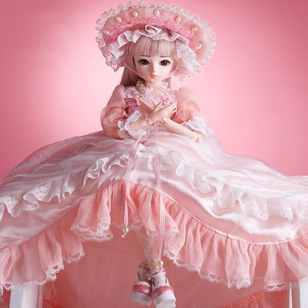 60cm bjd 인형 1/3 갈색 눈 bjd 옷가 발 신발 메이크업 100% 수 제 아름다움 장난감 실리콘 reborn 인형 장난감 소녀 선물-에서인형부터 완구 & 취미 의  그룹 1