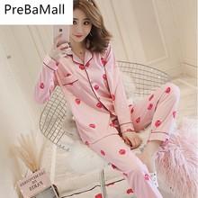 2019 Fashion Women Pajamas Strawberry Print Satin pyjamas women Sleepwear Home Clothing Wear Silk Pyjama Set C159