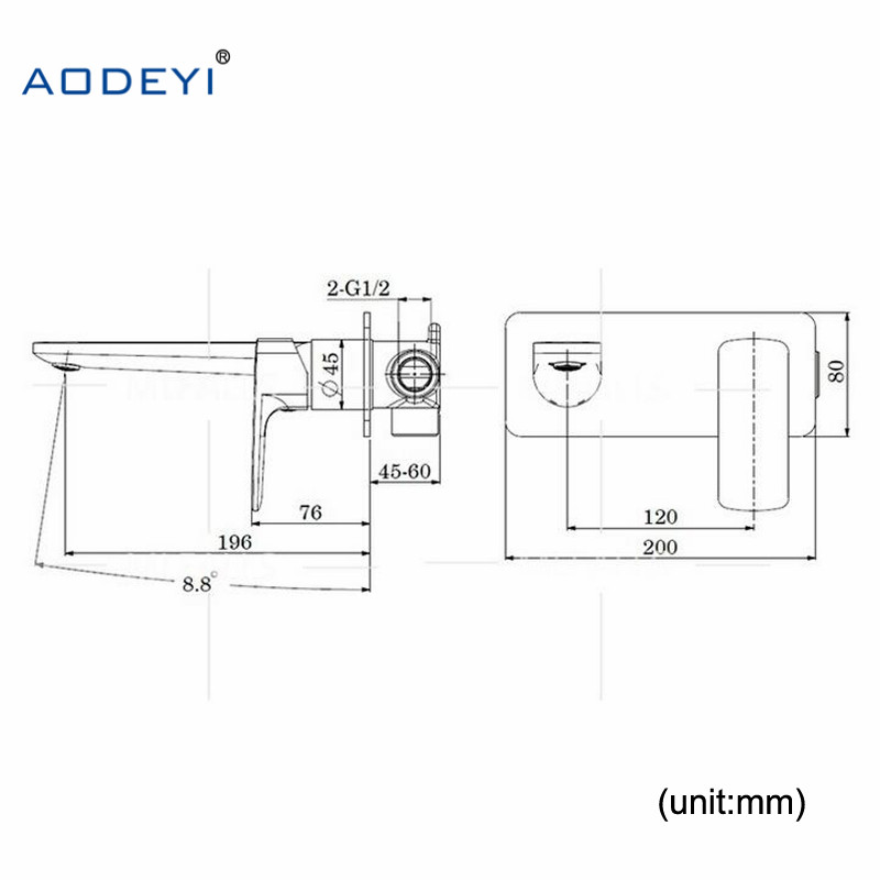 AODEYI Brass Wall Mounted Basin Faucet Single Handle Bathroom Mixer Tap Hot & Cold Water Tap Matte Black Chrome Fine Casting