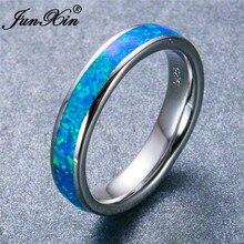 JUNXIN, высокое качество, 925 пробы, заполненные серебром, классические, круглые, океанские, синие, огненный опал, кольца для мужчин и женщин, обручальные кольца с лучшим любовникам