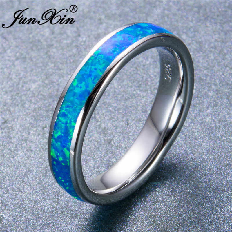 Wave BEACH ocean blue fire opal ring or Noir Mariage Bandes Bijoux Taille 6-10