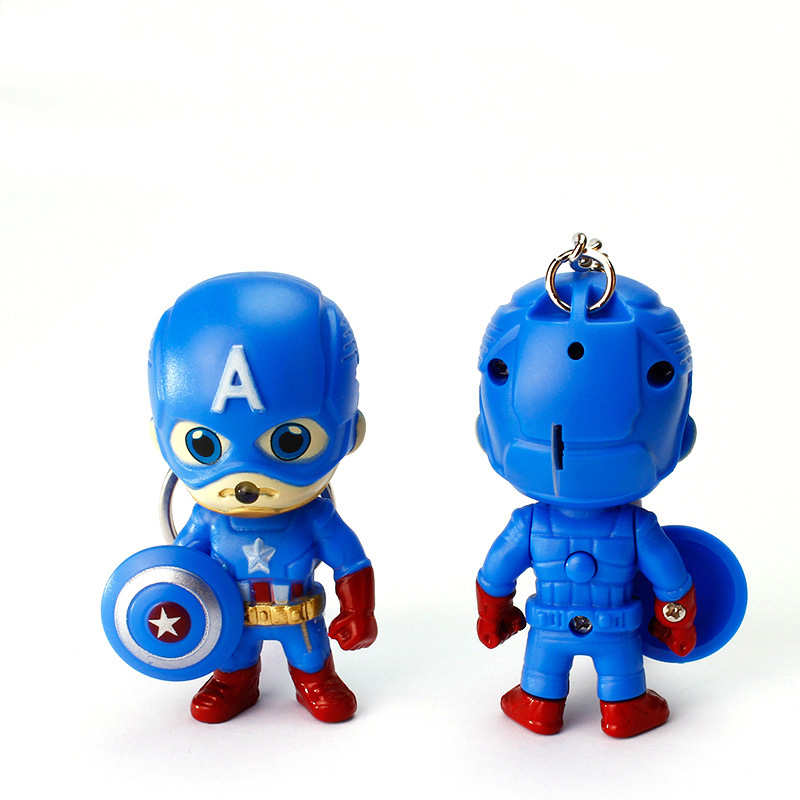 Captain America Keychain With LED Flashlight And Sound Minions Super Hero Led Keychain Action Figure For Handbag Car Keyring