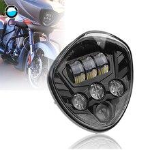 60 Вт светодиодный фонарь для мотоцикла черный Hi Lo луч Polaris для Виктории мотоцикл для кросса фары в сборе