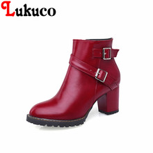 2017 new fashion and cool style Round Toe shoes big size 34 to 47 Ankle Boots