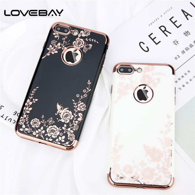 Lovebay Phone Case For iPhone X 7 6 6s Plus Luxury Plating Rose Gold Ultra Thin Soft TPU Black White Cover Cases For iPhone 7
