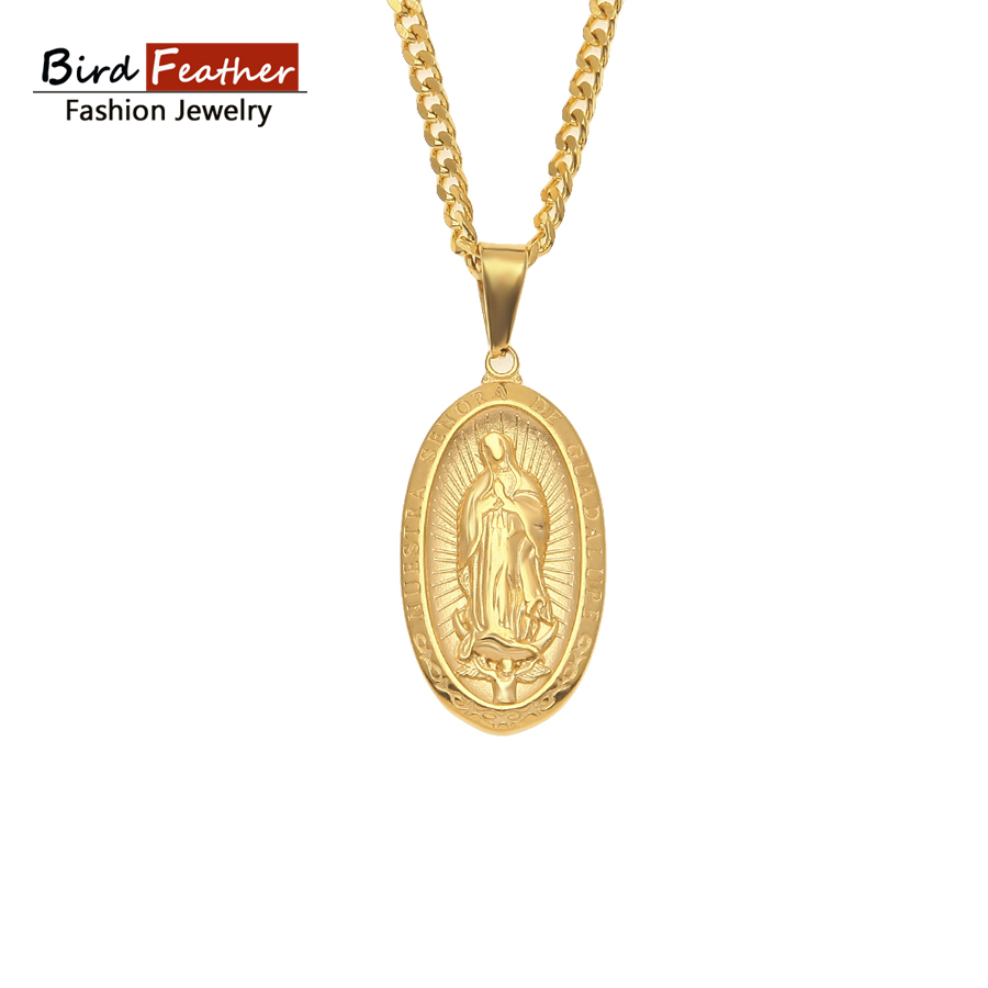 Golden color stainless steel necklace for men women saint guadalupe golden color stainless steel necklace for men women saint guadalupe pendant chain necklaces pendants hip mozeypictures Choice Image