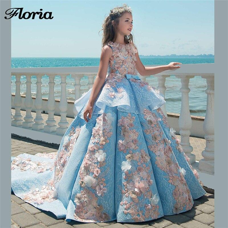 Princess 3D Flower Girl Dresses For Weddings Vestidos daminha Kids ...