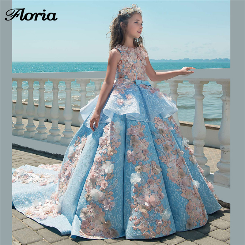 Princess 3D   Flower     Girl     Dresses   For Weddings Vestidos daminha Kids Evening Gowns Big Ball Gown First Communion   Dresses   For   Girls