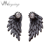 Punk Black Gothic Jewelry Angel Wings Front Back Clear Crystal Rhinestone Ear Stud Earrings for Women Vintage Party Cosplay