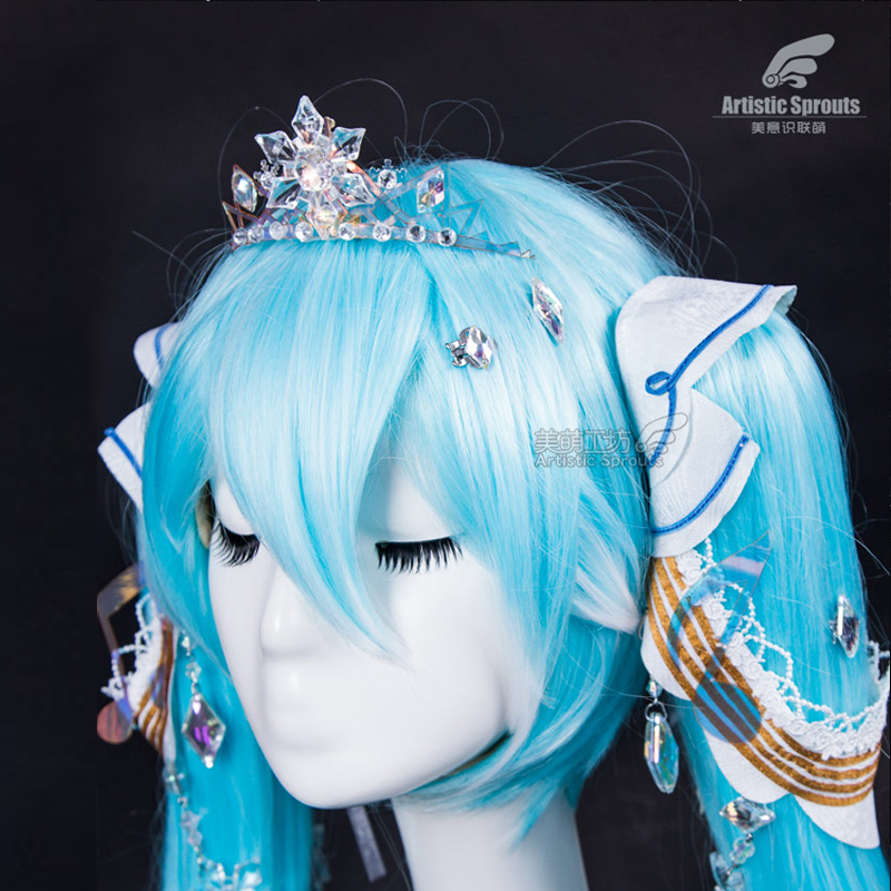 2019 New Costume VOCALOID Hatsune Miku Cosplay Costume Ice And Snow Miku Crown Free Shipping
