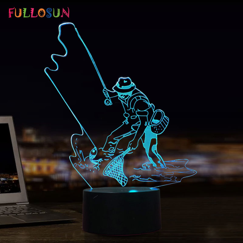 USB Lamp Fishing Model 3D Visual LED Night Lights 7 Colors Changing Desk Table Lamp as Home Decoration Holiday Gift baymax big hero 6 touch switch led 3d lamp visual illusion 7color changing 5v usb for laptop desk decoration toy lamp