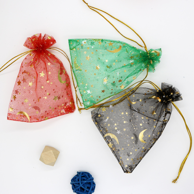 Wholesale 100pcs/lot Mixed Color Small Organza Bags 7x9cm moon stars Jewelry Bracelet Candy Gifts Cosemetics Packaging Bags