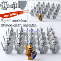 Super Heroes Medieval Castle Blue King Knight Red Lion With Weapons Heavy Shield Building Blocks Figures