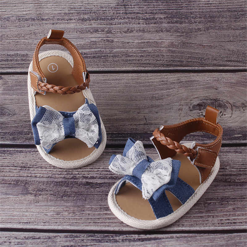 ฤดูร้อนเด็กทารก Bowknot รองเท้าแตะ Anti - Slip รองเท้า Crib Soft Prewalkers