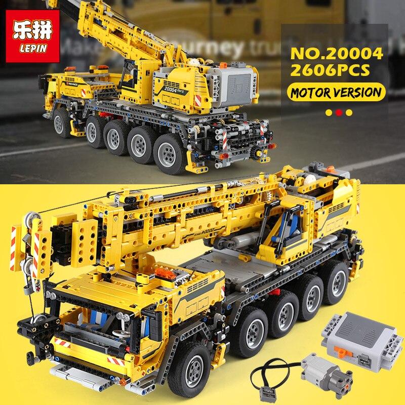 Lepin 20004 2606 pièces Technique puissance du moteur Grue Mobile Mk II Modèle Kits de Construction Blocs Briques d'anniversaire LegoINGlys Cadeau 42009