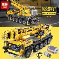 lepin 20004 2606Pcs Technic Motor Power Mobile Crane Mk II Model Building Kits Blocks Bricks birthday LegoINGlys Gift 42009
