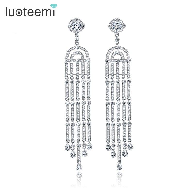 LUOTEEMI 2016 Luxury  White Gold Plated Long Tassel Design Dangle Earrings For Women Bridal Wedding Jewelry Brincos Bijoux