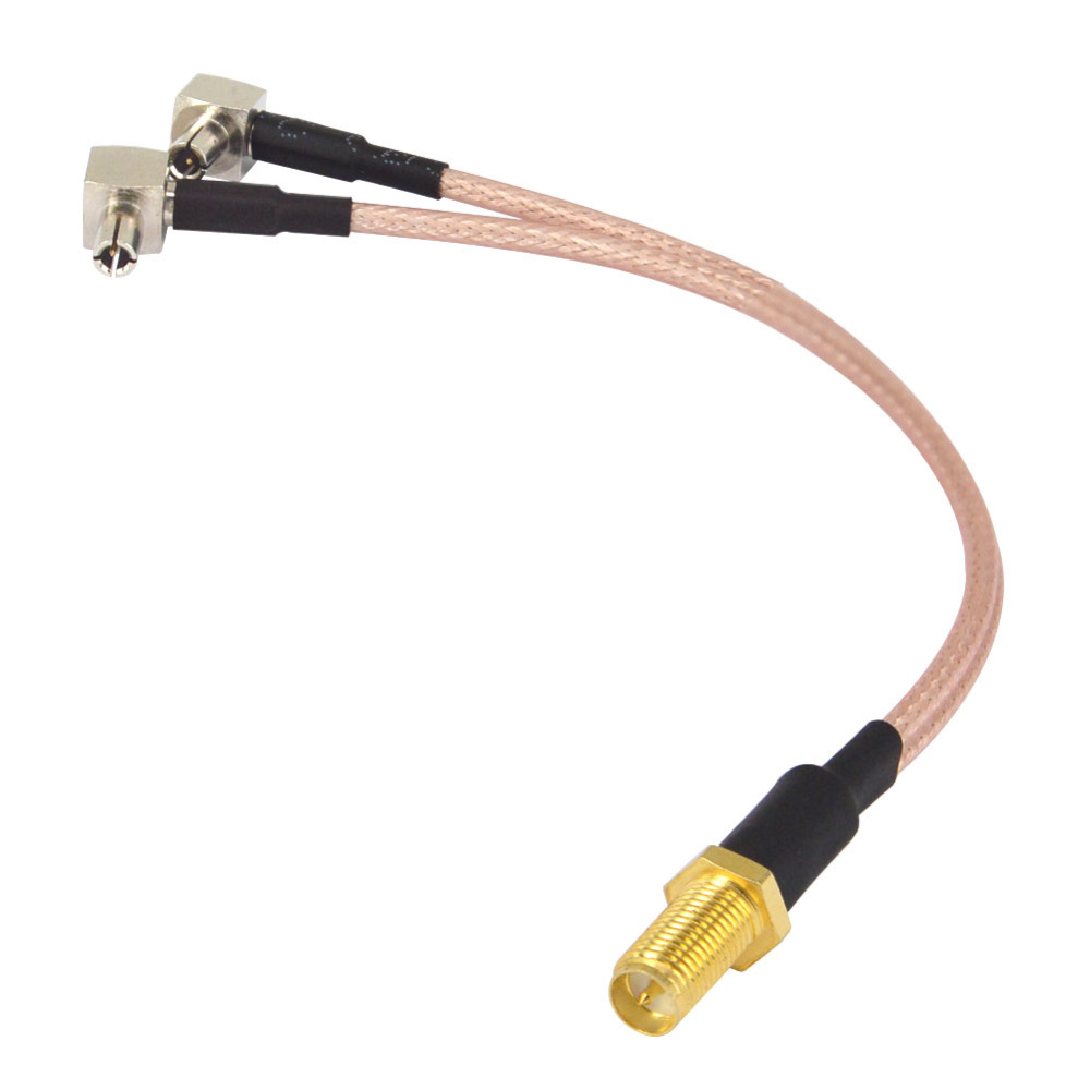 """8/"""" RP-SMA female to Y type 2X L TS9 male Splitter Combiner cable pigtail RG316"""