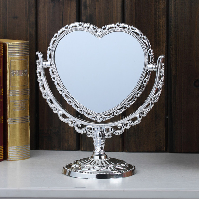 Superbe Double Sided Make Up Cosmetic Shaving Mirror Heart Shaped Bath Table Free  Stand