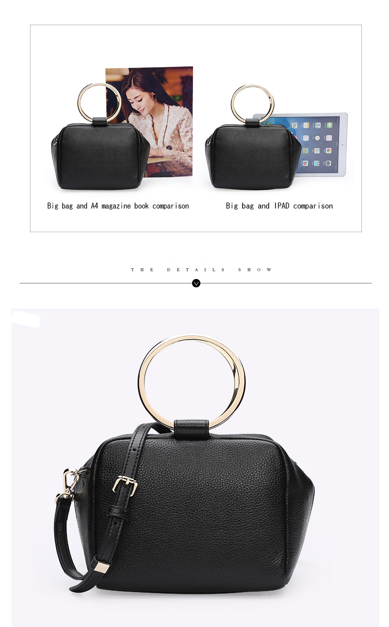HONGU Luxury Cow Leather Handbags Women Bags Brands Ring Evening Purses Lady Mini Crossbody Shoulder Bags Female Messenger Totes     H5140080992 (9)