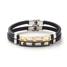 Stainless Steel Genuine Leather Bracelets / Bangles