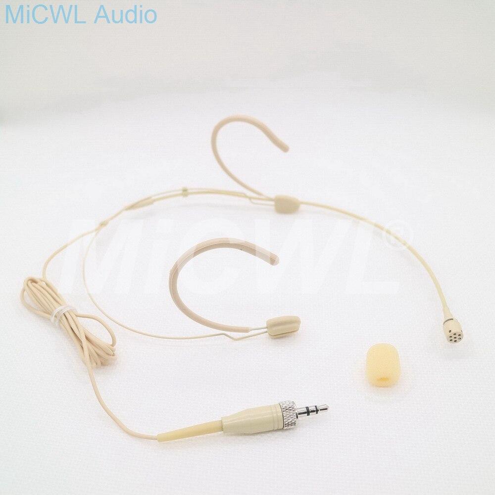 Double crochet Beige casque cardioïde condensateur casque porté Microphone pour Sennheiser système sans fil avec transmetteur Bodypack