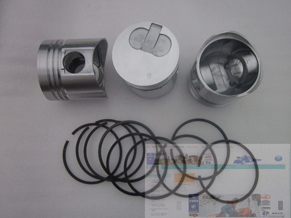 Laidong KM385TE, set of pistons with piston rings for one engine, for the swirl chamber engine with EPA laidong km4l23bt for tractor like luzhong series set of piston groups with gaskets kit including the cylinder head gasket