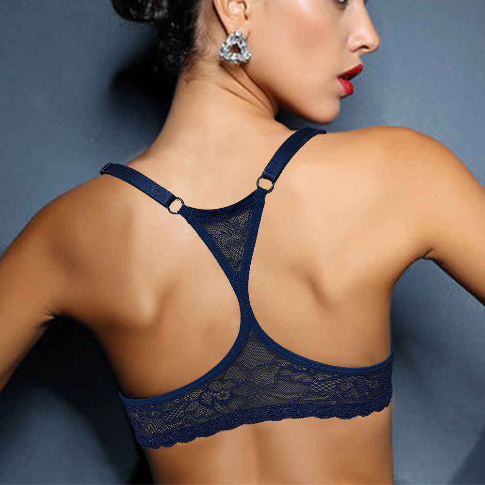 Sexy Fashion Women Bra Front Closure Sexy Lace Back Y-line Straps Big Cup BH Underwear Lingerie 32 34 36 38 40 42 44 A B C D DD