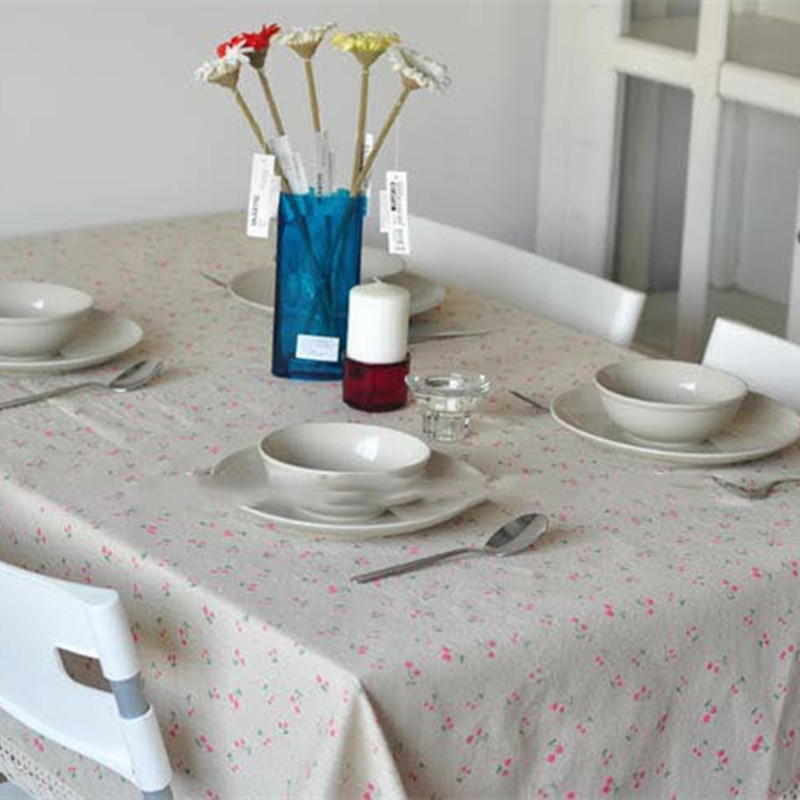 Free Shipping Cherry TableCloth Pastoral Flowers Tablecloths Home/Restrant  Table Cover Mantel De Mesa Table