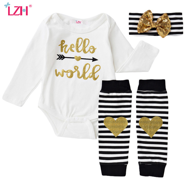 7a9ef1e3acf6 100% Cotton Newborn Baby Clothing Infant Jumpsuit Letter Rompers + Stripe  Leg Warmer + Bow