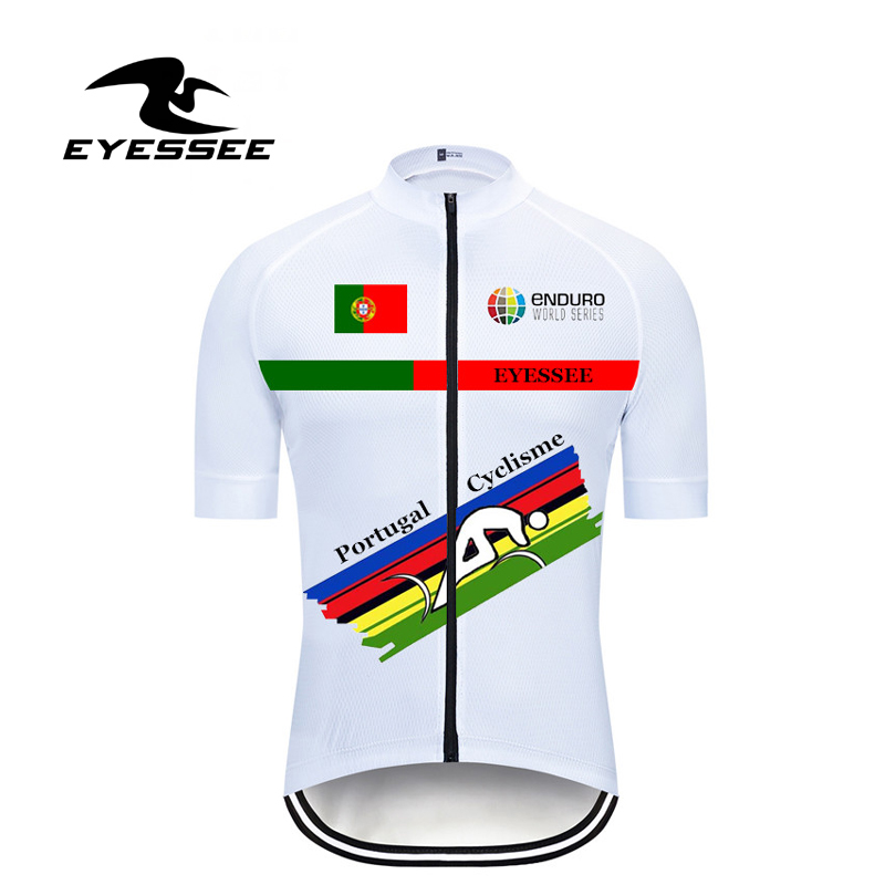 EYESSEE Brand 2019 New Enduro Portugal Cycling Jersey Pro Short Sleeve Riding T-shirt Mtb Bycicle Bike Clothing Maillot Ciclismo