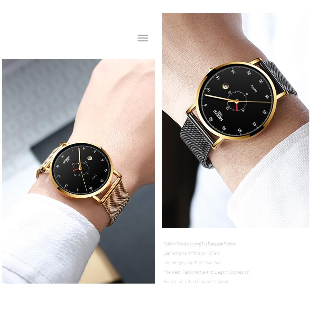 Erkek Kol Saati NIBOSI Men Watch Women Top Brand Luxury 2019 Thin Watches For Men Waterproof Black Wristwatch Female (13)