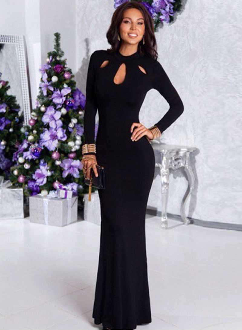2019 Women Mermaid Elegant Black Long Maxi Dress Hollow Out Evening Party Full Sleeve Vestidos