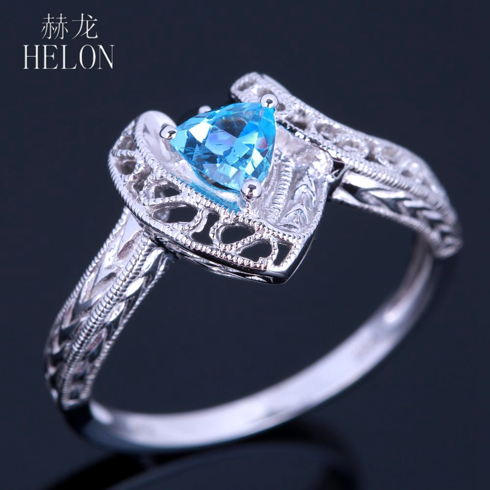 HELON 925 Sterling Silver Flawless 5mm Trillion 1ct 100% Genuine Blue Topaz Engagment Wedding Vintage Antique Deco Jewelry Ring