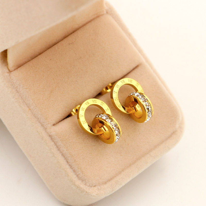 Nye super flash små krystal romerske digitale dobbeltringeøreringe - Mode smykker - Foto 4